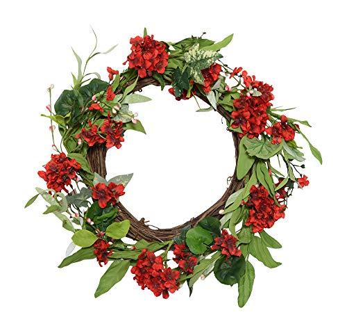 Wreath Twig Spiral - Ten Waterloo 22 Inch Red Artificial Geranium Wreath on Natural Twig Base