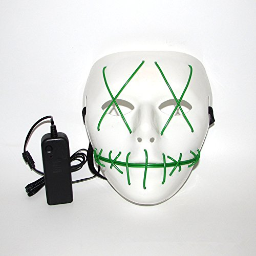 Scary Led Light Up Purge Costumes Glow Stick Party City Mask for Parties Festival Halloween Costume by Magical Imaginary(Green)]()