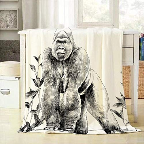 Mugod Gorilla Throw Blanket Muscular Animal Gorilla Standing on Stone Sketch Vector Decorative Soft Warm Cozy Flannel Plush Throws Blankets for Baby Toddler Dog Cat 30 X 40 Inch