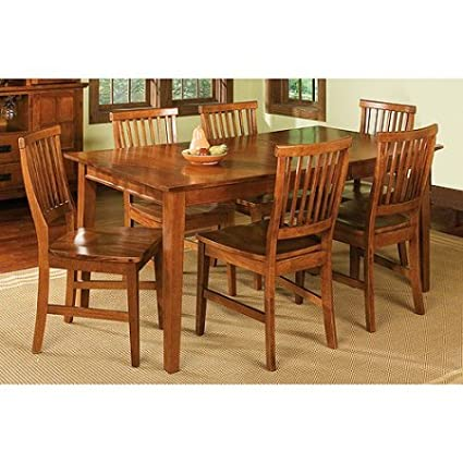 7 Piece Dining Set, Cottage Oak, Wood Construction, Multifunctional Table,  Six Chairs