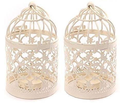 Ruikey 1pcs Birdcage-shaped en Métal pour Bougie chauffe-plat lanternes Mariage Maison Décoration de table Creux Retro Bougeoirs en Métal Cage d'Oiseau Support de Bougie Lampadaire Candélabres
