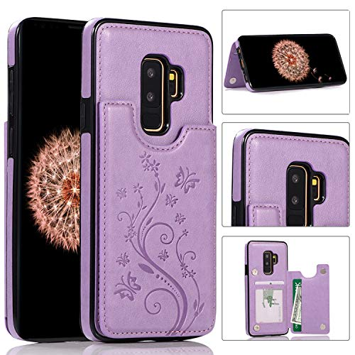 Samsung Galaxy S9 Plus Case Leather Flip Wallet Case, Akimoom Butterfly Embossed Double Magnetic Clasp Leather Kickstand Card Slots Protective Skin Case Cover for Samsung Galaxy S9 Plus(Purple)