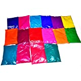 Holi Colors - Gulal Rangoli Colors - Gulal Festival Colors - 16 Eye Catching Super Smooth and Silky Colors of 100 Grams Each