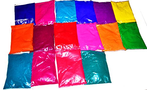 Each Colour - Holi Colors - Gulal Rangoli Colors - Gulal Festival Colors - 16 Eye Catching Super Smooth and Silky Colors of 100 Grams Each