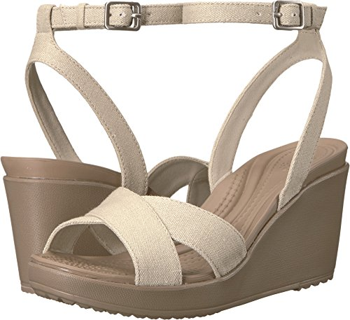 Crocs Women's Leigh II Cross-Strap Ankle Wedge Sandal, Oatmeal/Mushroom, 8 M US