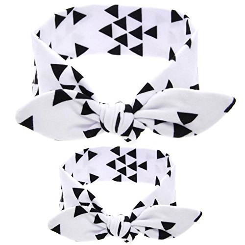 2PC/Set Mommy and Me Matching Headbands Rabbit Ears Hair Bands Soft Cotton Bowknot Headband Photo Prop Gift Doubtless Bay (Black Triangle)