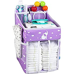 Hanging Diaper Caddy – Diaper Organizer for Crib – Storage for Baby Nursery – Hang on Crib, Changing Table, Playard or Furniture –Elephant Purple – 17x9x9 inches