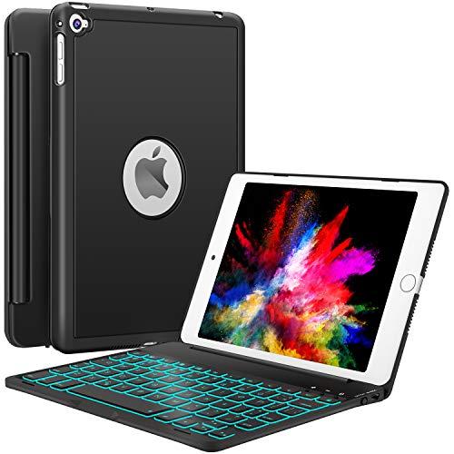 iPad Mini 5 / Mini 4 Keyboard - 135 Degree Flip - 7 Color Backlit - Auto Sleep/Wake - Ultra-Thin Keyboard Case for Apple iPad Mini 5 (2019) iPad Mini 4 (2015) - Black
