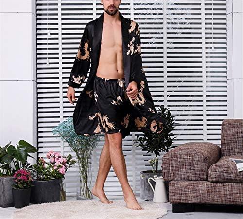 メンズ花柄軽量長袖ルーズシルクドレッシングガウンナイトウェアソフトサテンショーツ
