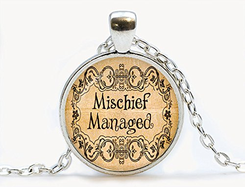 Mischief Managed Pendant.Hogwarts map jewelry. Birthday gift, book jewelry book necklace quote necklace,librarian gift,book worm jewellery]()