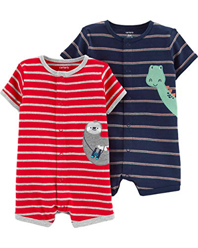 Carter's Baby Boys 2-Pack Snap-up Romper, Dinosaur/Sloth, 18 Months