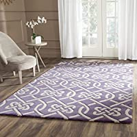 Safavieh Chatham Collection CHT754F Handmade Purple and Ivory Premium Wool Area Rug (5' x 8')