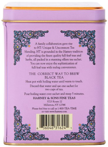 "Harney & Sons - Black Tea Black Currant 5 Caffeinated Black Currant Black Tea Tin Contains 20 Tea Sachets - Each Tea Sachet Brews a 12 oz Cup of Tea Enjoy this Big ""Fruity"" Berry Tea Hot or Cold"