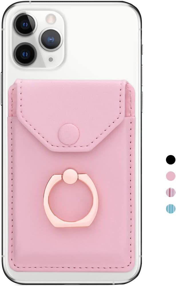 Yunce Cell Phone Card Holder RFID Ring Stand Stick on Wallet Card Holder for Back of Phone for iPhone Android and All Smartphones Adhesive Credit Card Holder for Cell Phone-Pure Pink