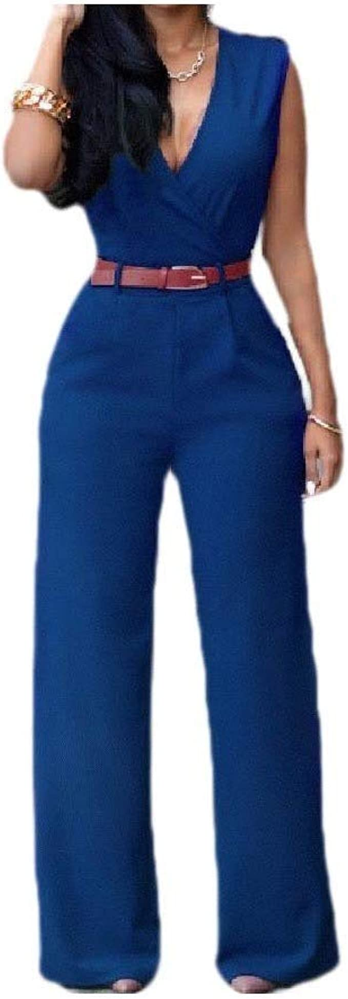 EnergyWD Womens With Belt Solid High Waist V Neck Slim Wide Leg Long Pant Playsuit
