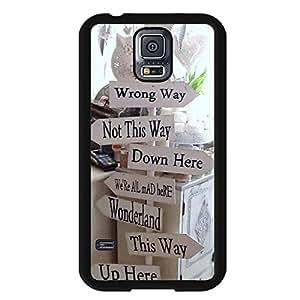 Alice In Wonderland Phone Case Hard Plastic Case Cover For Samsung Galaxy S5,Alice in Wonderland Durable Cellphone Case(Black)