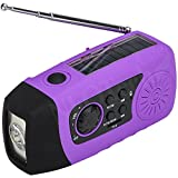 Solar Powered Wind Up Radio (FM or SD card for MP3 playing) & Charger (USB) & LED Flashlight - Mini, Portable & Handheld - for Travel, Camping or Emergency - Color Purple