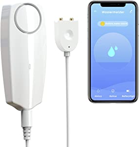 CISAY Water Leak Detector,100 dB Volume,TUYA Smart APP WiFi Water Sensor Alarm,Water Monitor Alarm with Rechargeable,Remote Monitor Leak Ideal for Home Security Basement,Washer,Bath Cellar