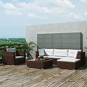 Sectional PE Wicker Rattan Sofa Set of 6 Pcs, Outdoor Patio Furniture, Brown