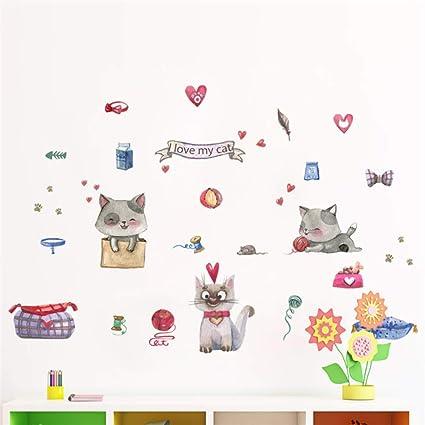 ELGDX Pegatinas de Pared Gato de Amor para Habitaciones de niños Decoración del hogar Cuarto de