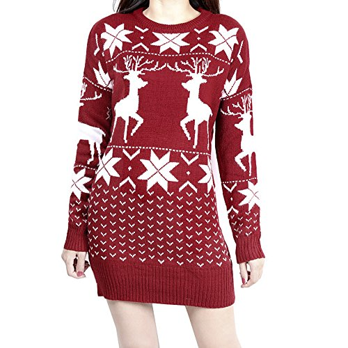 Classic Women's Ugly Christmas Sweater Dress,Reindeer Snowflakes Element Dress (Sweater Dress Snowflake)