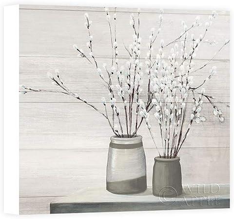 Impresión sobre Lienzo Wall Art Purinton Julia Pussy Willow Still Life Gray Pots Shiplap: Amazon.es: Hogar