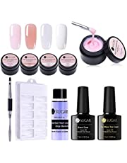 UR SUGAR 15ml Poly Extension Gel Kit -4 Boxes Poly Crystal Gel Nail Extended Builder with Slip Solution, 100Pcs Tip Molds, Double End Pen Brush with Top and Base Coat for Starter
