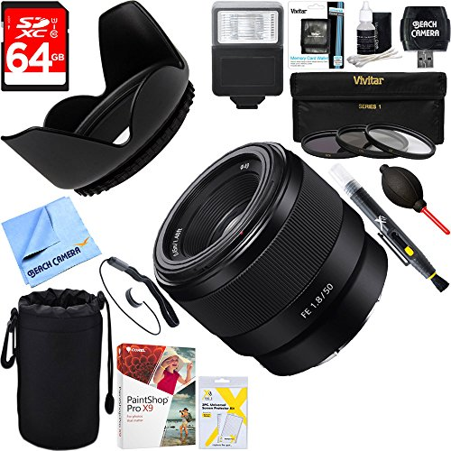 Sony (SEL50F18F) FE 50mm F1.8 Full-frame Prime E-Mount Lens + 64GB Ultimate Filter & Flash Photography Bundle
