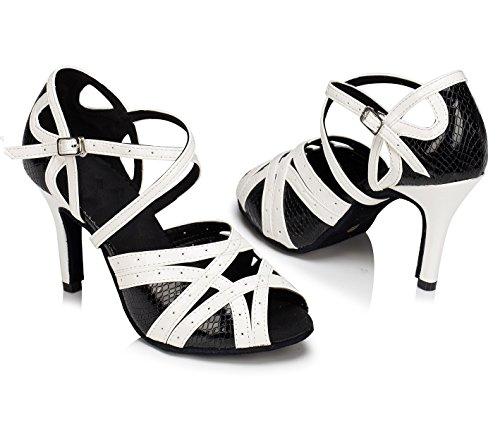 KAI-ROAD Womens Black Latin Dance Shoes Ballroom Dancing Heels 8.5cm High Heels Suede Sole Salsa Shoes (7.5 B(M) US)