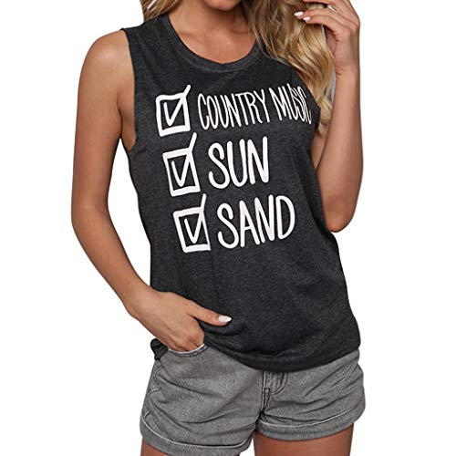 (Graphic Tank Tops for Women,SMALLE◕‿◕ Women √Country Music - √Sun - √Sand Funny Sleeveless t Shirts Holiday)