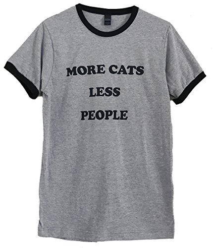 The Bold Banana Men's More Cats Less People Ringer T-Shirt - S - Heather Grey/Black