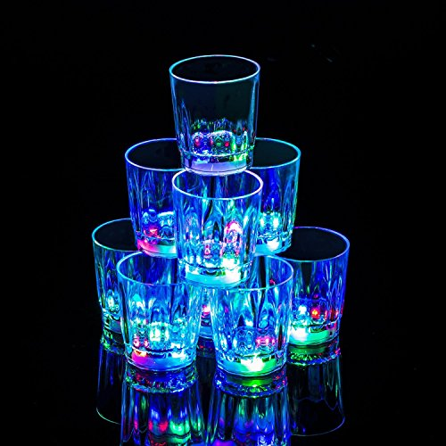 24 PC Flash Light Up Cups Flashing Drinking Shots LED Bar Night Club Party Drink Glasses (Original -