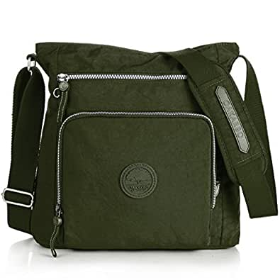 Nylon Crossbody Purse Multi-Pocket Travel Shoulder Bag (1301 Army green)