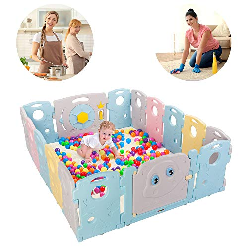 JOYMOR 16 Panels Baby BPA-Free Safety Extra Larger Rubber Anti-Skid Playpen Play Yards Baby Fence Kids Activity Center with Locked Door Home Indoor Outdoor Tortoise and Hare