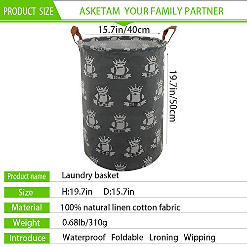 ASKETAM Laundry Basket,Canvas Fabric Laundry Hamper,Dirty Clothes Storage Bin,Collapsible Toy Organizer for Office,Bedroom, Clothes,Toys,Gift Basket (Crown and Rugby)