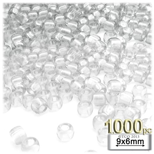 The Crafts Outlet 1000-Piece Round Plastic Transparent Pony Beads, 6 by 9mm, Clear