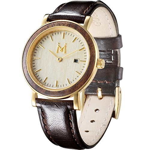 GOGOMY 50M Waterproof Watch Wood Face Women Watches Two-Tone Leather Strap Watch with Date Display