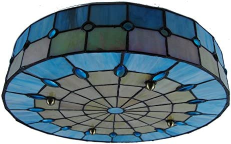 Cheerhuzz 16 Inch Tiffany Style Ceiling Lamp 3 Lights Drum Ceiling Light Vinage Simple Stained Glass Flush Mount Lamp Fixtures for Cafe Restaurant Indoor Room Lighting CL261