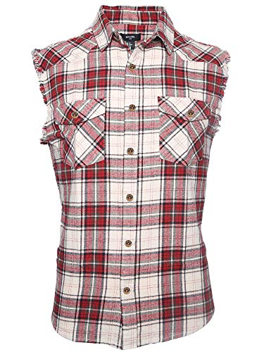 NUTEXROL Men's Casual Flannel Plaid Shirt Sleeveless Cotton Plus Size Vest Red and Beige - Flannel Beige