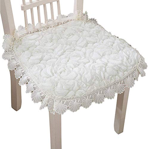 e Thickening Chair Cushion Lace Floral Non-slip Winter Seat Pad with Ties for Home Garden Patio (1Pcs, White) ()