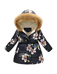 Staron  Toddler Baby Boys Girls Winter Coat Floral Thick Warm Fur Hooded Jacket Outerwear