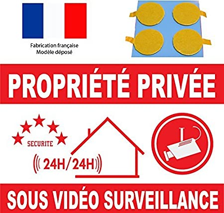 pastille double face offerte Panneau propri/ét/é sous vid/éo surveillance 160x100mm