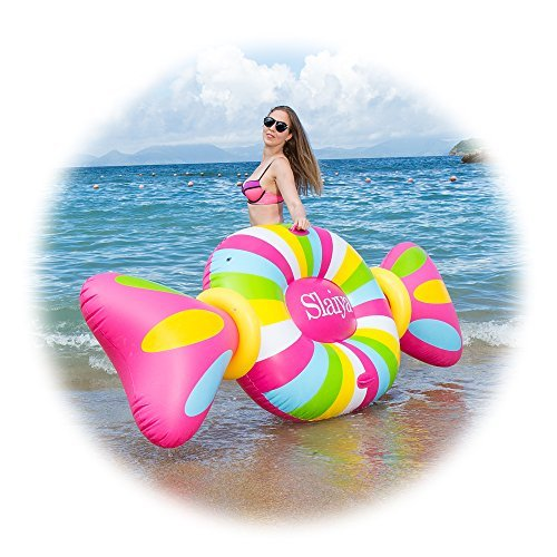 Inflatable Pool Float Pool Rafts Inflatable Lounger Swimming Toy with Rapid Valves Candy Decorations for Adults Kids