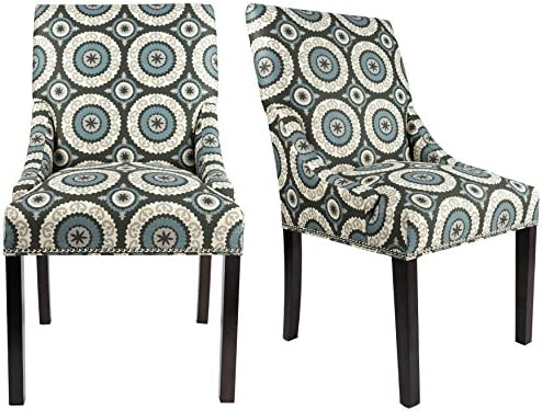 Sole Designs The Marie Collection Contemporary Style Patterned Fabric Upholstered Double Dow Dining Chairs with Nailhead Trim Set of 2 , Teal
