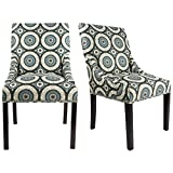 Sole Designs The Marie Collection Contemporary Style Patterned Fabric Upholstered Double Dow Dining Chairs with Nailhead Trim (Set of 2), Teal For Sale