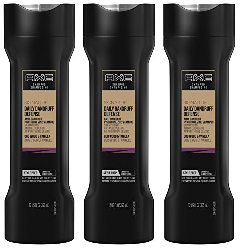 Axe Signature Shampoo - Daily Dandruff Defense - Oud Wood & Vanilla - Net Wt. 12 FL OZ (355 mL) Per Bottle - Pack of 3 ()