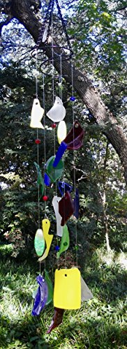 Tumbled glass wind chimes in cobalt, red, yellow green and frosted white (Cobalt Victorian Glass)