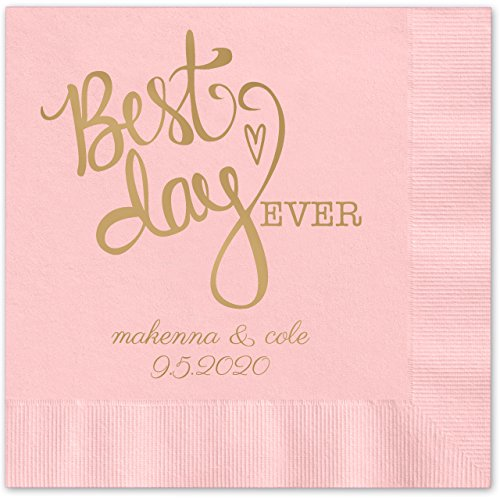 Best Day Ever Heart Personalized Beverage Cocktail Napkins - 100 Custom Printed Pink Paper Napkins with choice of (Rose Beverage Napkins)