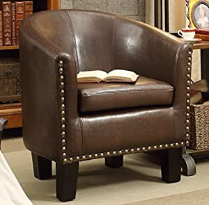 Rosevera Home Duilio Arm Club Chair, PU Leather Tub Barrel Modern Chair, Espresso