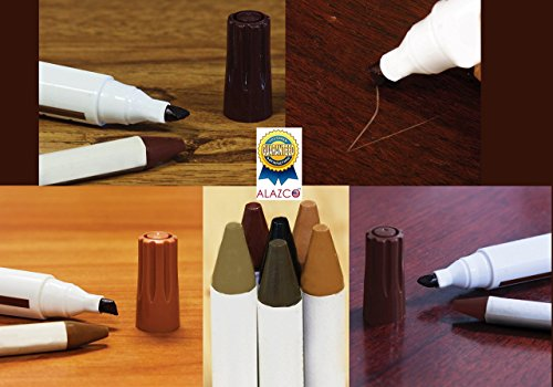 ALAZCO-Total-Furniture-Scratch-Restore-Repair-System-Touch-Up-Kit-6-Wax-Stick-Crayons-6-Felt-Tip-Markers